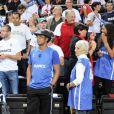Yannick Noah et sa maman Marie-Claire lors de l'Euro 2011 en Lituanie le 15 septembre 2011 à Kaunas