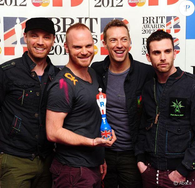 Jonny Buckland, Will Champion, Chris Martin et Guy Berryman du groupe Coldplay à Londres, le 21 février 2012.