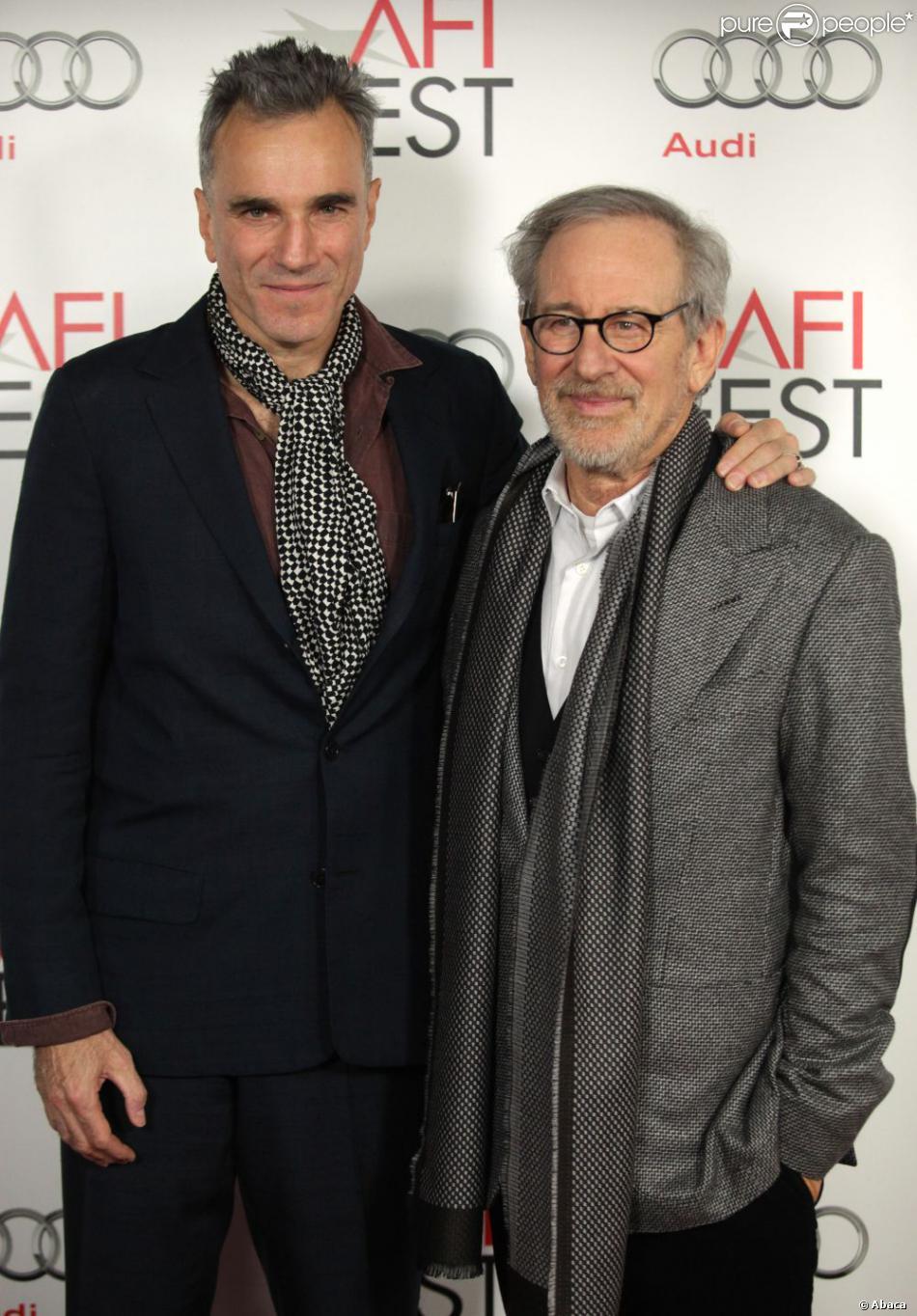 Daniel Day-Lewis et Steven Spielberg lors de la projection du film Lincoln, dans le cadre du festival de l'AFI à Los Angeles le 8 novembre 2012