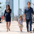 Matthew McConaughey, avec sa femme enceinte Camila et leurs enfants Levi et Vida à New York le 26 août 2012