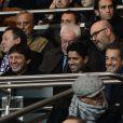 Leonardo, Nasser El-Khelaifi et Nicolas Sarkozy lors du match entre le PSG et Lyon le 16 décembre 2012 au Parc des Princes (victoire 1-0 du PSG) à Paris