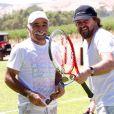 Mansour Bahrami et Henri Leconte lors de la conférence de presse du World Tennis Challenge à Barossa Valley du côté d'Adélaide le 8 janvier 2013