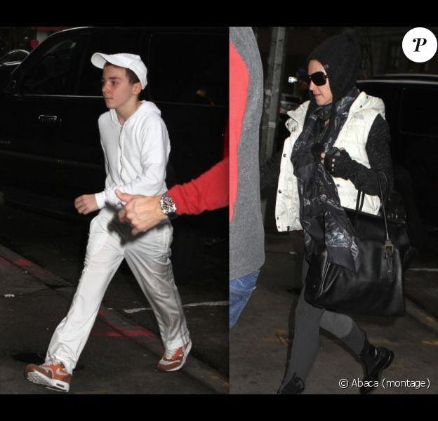Madonna et ses enfants Rocco Ritchie et Mercy James à New York le 12 janvier 2013. Mercy porte une jolie robe noire.