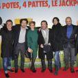 Fabien Onteniente, Edouard Baer, Vahina Giocante, Philippe Duquesne, Helena Noguerra, Jérôme Commandeur, Lucien Jean-Baptiste lors de l'avant-première du film Turf au Gaumont Opéra à Paris, le 21 Janvier 2013.