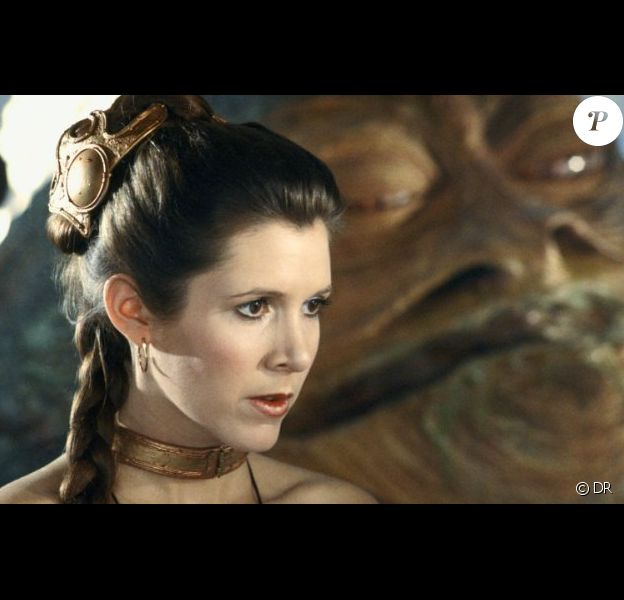 Image du film Star Wars - épisode VI, Le Retour du Jedi avec Carrie Fisher et le gros Jabba