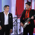 Gerard Lanvin et son fils à l'enregistrement de l'émission Vivement Dimanche, à paris, le 23 janvier 2013.