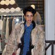 Farida Khelfa lors de l'anniversaire de Nicolas Sarkozy le 28 janvier 2013 au restaurant Giulio Rebellato à Paris