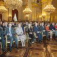 Le roi Albert II de Belgique et la reine Paola, le prince héritier Philippe et la princesse Mathilde, la princesse Astrid et le prince Lorenz, le prince Laurent et la princesse Claire lors de la réception du Nouvel An pour les autorités et personnalités du pays, au palais Laeken le 29 janvier 2013.