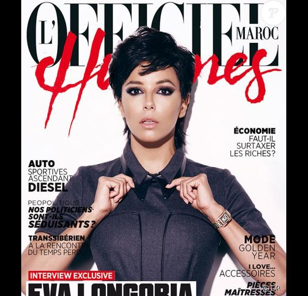 Eva Longoria en couverture du magazine l'Officiel Hommes Maroc pour le mois de mars 2013. Elle dévoile ici une allure masculine