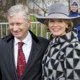 Le prince Philippe et la princesse Mathilde de Belgique lors de la messe aux morts royaux à Bruxelles le 19 février 2013