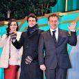 Rachel Weisz, James Franco et Sam Raimi lors de la présentation au Japon, à Tokyo, du film Le Monde fantastique d'Oz le 20 février 2013