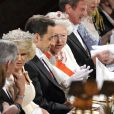 Elizabeth II et Nicolas Sarkozy lors d'un dîner officiel à Windsor, en mars 2008.
