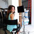 Brooke Burke lors du tournage de la publicité pour la ligne Bobs de la marque Skechers, à Los Angeles, le 18 mars 2013
