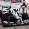 La grosse boulette de son amoureux Lewis Hamilton lors du Grand-Prix de Malaisie le 24 mars 2013.