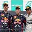 Lewis Hamilton (Mercedes) troisième du Grand-Prix de Malaisie le 24 mars 2013 derrière Mark Vebber et Sebastian Vettel.