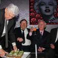 Dominique Colonna, Guy Roux, Just Fontaine et Michel Hidalgopour ses 80 ans lors d'une soirée au Palais Maillot à Paris le 25 mars 2013- Exclusif