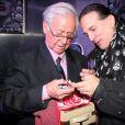 Francis Lalanneet Michel Hidalgopour ses 80 ans lors d'une soirée au Palais Maillot à Paris le 25 mars 2013- Exclusif