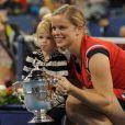 Kim Clijsters et sa fille Jada lors de la finale de l'US Open à New York, le 13 septembre 2009.