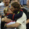 Kim Clijsters et son mari Brian Lynch lors de la finale de l'US Open à New York, le 13 septembre 2009.