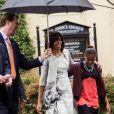 Michelle Obama, accompagnée de ses filles Malia et Sasha, se rend à la St John's Episcopal Church à Washington pour assister à la messe de Pâques. Le 31 mars 2013.