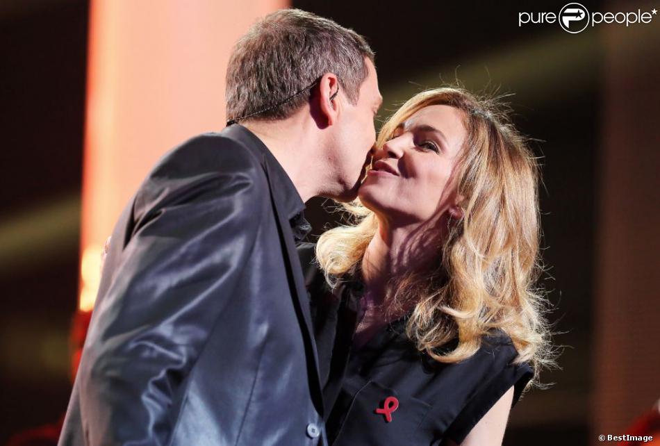 Exclusif - Claire Keim et Thomas Hugues lors de l'enregistrement au Théâtre Marigny de l'émission Toute la télé chante pour le Sidaction à Paris le 21 mars 2013, qui sera diffusée sur France 2 le 6 avril 2013.