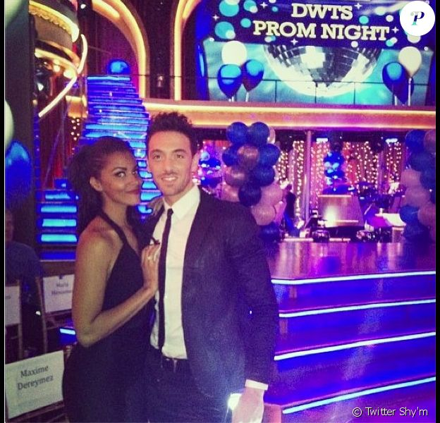 Shy'm et Maxime Dereymez sur le plateau de Dancing With The Stars à Los Angeles vendredi 5 avril 2013.