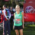 Katherine Jenkins nerveuse mais heureuse au départ du marathon de Londres le 21 avril 2013.