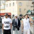 Karl Lagerfeld avec Baptiste Giabiconi sur le Port de Saint Tropez