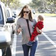 Please hide the child's face prior to the publication. Jennifer Garner seen heading back to her car with her baby Samuel, after taking her daughters Violet and Seraphina to their Karate class in Santa Monica, Los Angeles, CA, USA, on Friday April 26, 2013. Photo by Limelightpics.US/ABACAPRESS.COM27/04/2013 - Los Angeles
