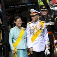 Le prince Vajiralongkorn de Thaïlande et la princesse Sirindhorn à la prestation de serment du roi Willem-Alexander des Pays-Bas, le 30 avril 2013 à la Nouvelle Eglise (Nieuwe Kerk) d'Amsterdam.