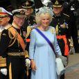 Le prince Charles et Camilla Parker Bowles à la prestation de serment du roi Willem-Alexander des Pays-Bas, le 30 avril 2013 à la Nouvelle Eglise (Nieuwe Kerk) d'Amsterdam.