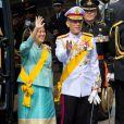 Le couple princier héritier de Thaïlande à la prestation de serment du roi Willem-Alexander des Pays-Bas, le 30 avril 2013 à la Nouvelle Eglise (Nieuwe Kerk) d'Amsterdam.