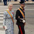 La princesse Mette-Marit et le prince Haakon de Norvège à la prestation de serment du roi Willem-Alexander des Pays-Bas, le 30 avril 2013 à la Nouvelle Eglise (Nieuwe Kerk) d'Amsterdam.