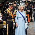 Le prince Charles et son épouse Camilla Parker Bowles à la prestation de serment du roi Willem-Alexander des Pays-Bas, le 30 avril 2013 à la Nouvelle Eglise (Nieuwe Kerk) d'Amsterdam.