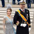 Letizia et Felipe d'Espagne à la prestation de serment du roi Willem-Alexander des Pays-Bas, le 30 avril 2013 à la Nouvelle Eglise (Nieuwe Kerk) d'Amsterdam.