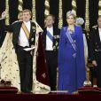 Prestation de serment du nouveau roi Willem-Alexander des Pays-Bas, avec la reine Maxima, le 30 avril 2013 à la Nouvelle Eglise (Nieuwe Kerk) d'Amsterdam.
