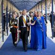 Le roi Willem-Alexander et la reine Maxima arrivant à la prestation de serment du roi Willem-Alexander des Pays-Bas, le 30 avril 2013 à la Nouvelle Eglise (Nieuwe Kerk) d'Amsterdam.