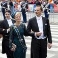 La princesse Carolina de Bourbon-Parme et son mari Albert Brenninkmeijer à la prestation de serment du roi Willem-Alexander des Pays-Bas, le 30 avril 2013 à la Nouvelle Eglise (Nieuwe Kerk) d'Amsterdam.
