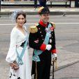 La princesse Mary et le prince Frederik de Danemark à la prestation de serment du roi Willem-Alexander des Pays-Bas, le 30 avril 2013 à la Nouvelle Eglise (Nieuwe Kerk) d'Amsterdam.