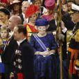 La princesse Beatrix à la prestation de serment du roi Willem-Alexander des Pays-Bas, le 30 avril 2013 à la Nouvelle Eglise (Nieuwe Kerk) d'Amsterdam.