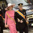 La princesse Mathilde et le prince Philippe de Belgique à leur arrivée pour la prestation de serment du roi Willem-Alexander des Pays-Bas, le 30 avril 2013 à la Nouvelle Eglise (Nieuwe Kerk) d'Amsterdam.