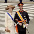 Le prince Guillaume et la princesse Stéphanie de Luxembourg à la prestation de serment du roi Willem-Alexander des Pays-Bas, le 30 avril 2013 à la Nouvelle Eglise (Nieuwe Kerk) d'Amsterdam.