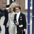 La princesse Victoria et le prince Daniel de Suède à la prestation de serment du roi Willem-Alexander des Pays-Bas, le 30 avril 2013 à la Nouvelle Eglise (Nieuwe Kerk) d'Amsterdam.
