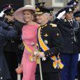 La princesse Mathilde et le prince héritier Philippe de Belgique à la prestation de serment du roi Willem-Alexander des Pays-Bas, le 30 avril 2013 à la Nouvelle Eglise (Nieuwe Kerk) d'Amsterdam.
