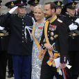La princesse Mette-Marit et le prince Haakon de Norvège lors des arrivées pour la prestation de serment du roi Willem-Alexander des Pays-Bas, le 30 avril 2013 à la Nouvelle Eglise (Nieuwe Kerk) d'Amsterdam.