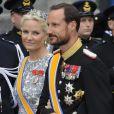 Mette-Marit et Haakon de Norvege après la prestation de serment du roi Willem-Alexander des Pays-Bas, le 30 avril 2013 à la Nouvelle Eglise (Nieuwe Kerk) d'Amsterdam.