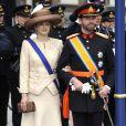 La princesse Stéphanie et le prince Guillaume de Luxembourg à la prestation de serment du roi Willem-Alexander des Pays-Bas, le 30 avril 2013 à la Nouvelle Eglise (Nieuwe Kerk) d'Amsterdam.