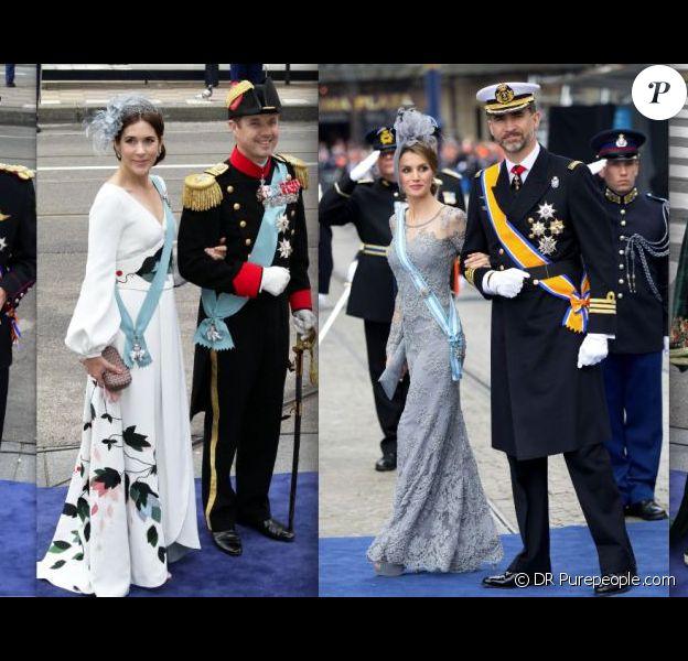 Mathilde et Philippe de Belgique, Mary et Frederik de Danemark, Letizia et Felipe d'Espagne, Lalla Salma du Maroc : défilé princier pour la prestation de serment du roi Willem-Alexander des Pays-Bas, le 30 avril 2013 en la Nouvelle Eglise d'Amsterdam.