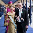 Carlos et Annemarie de Bourbon-Parme à la prestation de serment solennelle du roi Willem-Alexander des Pays-Bas, le 30 avril 2013 à la Nouvelle Eglise (Nieuwe Kerk) d'Amsterdam.