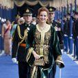 La princesse Lalla Salma du Maroc à la prestation de serment solennelle du roi Willem-Alexander des Pays-Bas, le 30 avril 2013 à la Nouvelle Eglise (Nieuwe Kerk) d'Amsterdam.
